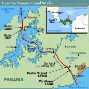 Panama canal mapa