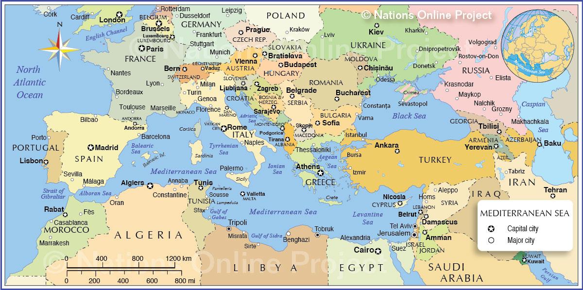 Mapa do Mediterrâneo