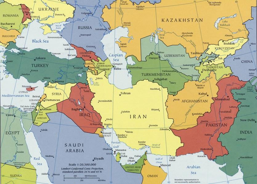 Mapa do Cáucaso e Ásia Central