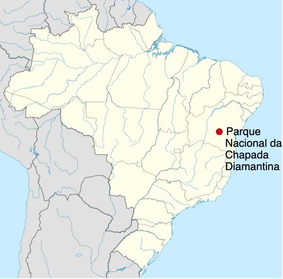 O Parque Nacional da Chapada Diamantina no mapa do Brasil