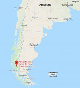 Torres del Paine mapa