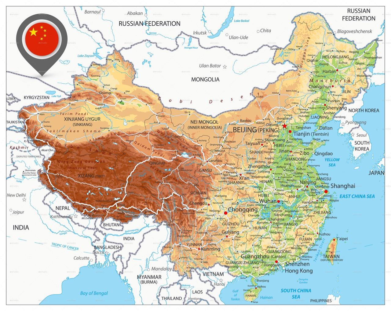 Mapa fisico da China pequeno