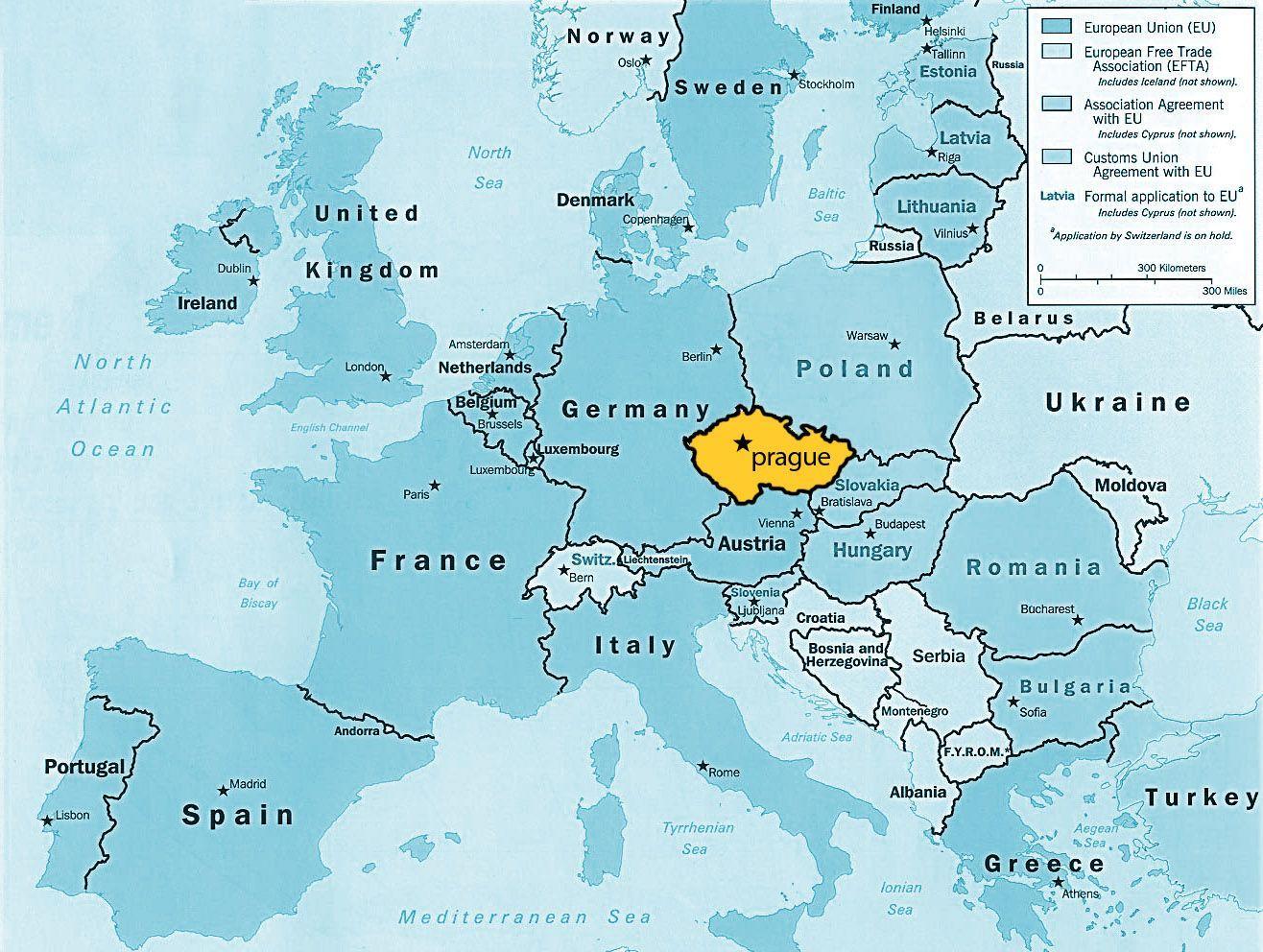 Mapa Praga na Europa 02