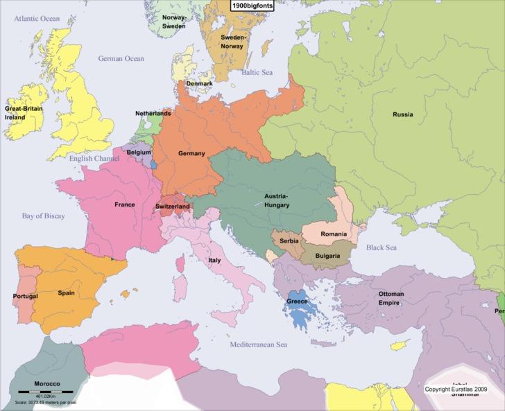 Mapa da Europa em 1900