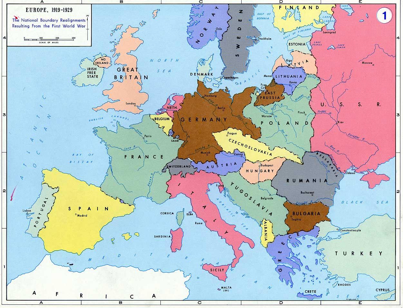 Mapa da Europa entre guerras mundiais