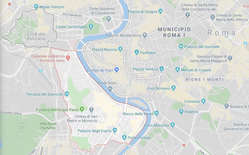 Mapa Trastevere em Roma