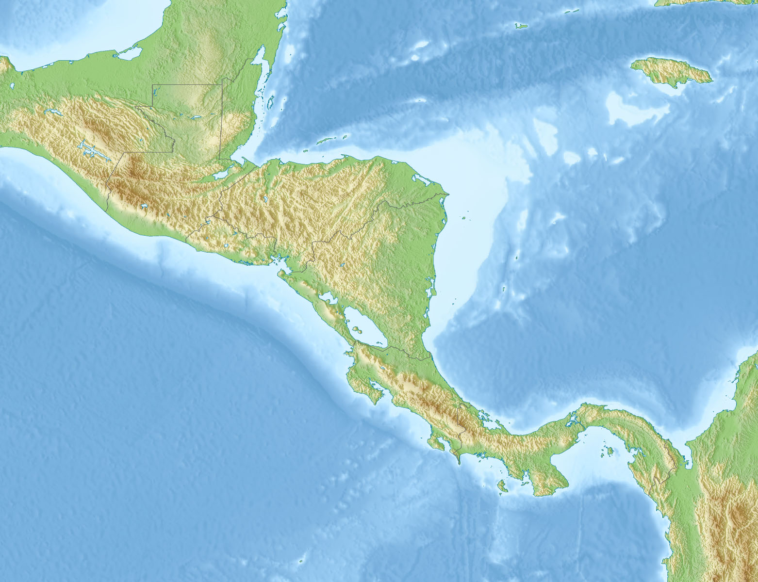 Relief map of Central America