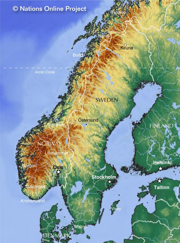 Norway and Sweden physical map