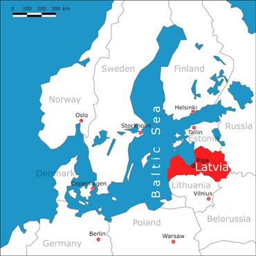 Riga na Letonia mapa