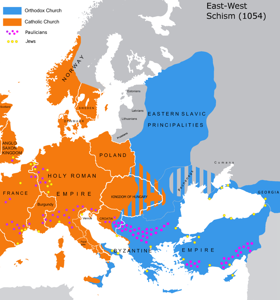 957px Great Schism 1054 with former borders