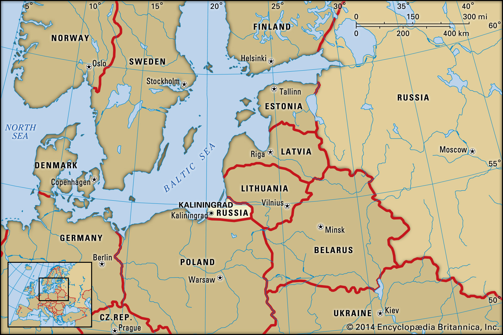 Mapa de Kaliningrado
