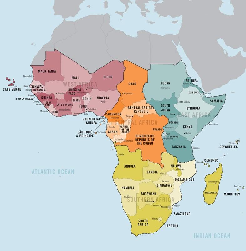 Mapa da África por regiões