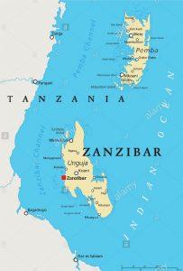 Mapa de Zanzibar com costa