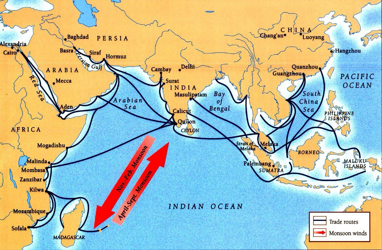 Rotas comerciais no oceano indico