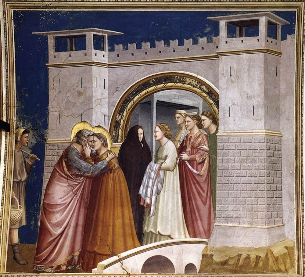 Giotto di Bondone No. 6 Scenes from the Life of Joachim 6. Meeting at the Golden Gate WGA09176