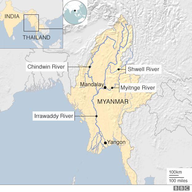 Mapa Rio Irauadi Myanmar