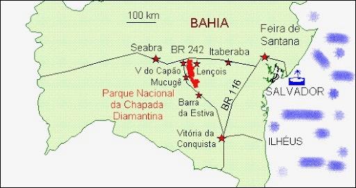 A localização de Lençóis no mapa da Bahia