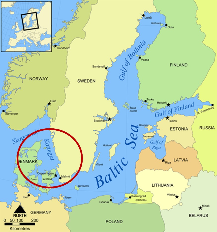 Kattegat no mapa