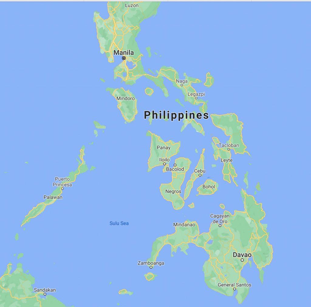 Bohol nas Filipinas mapa