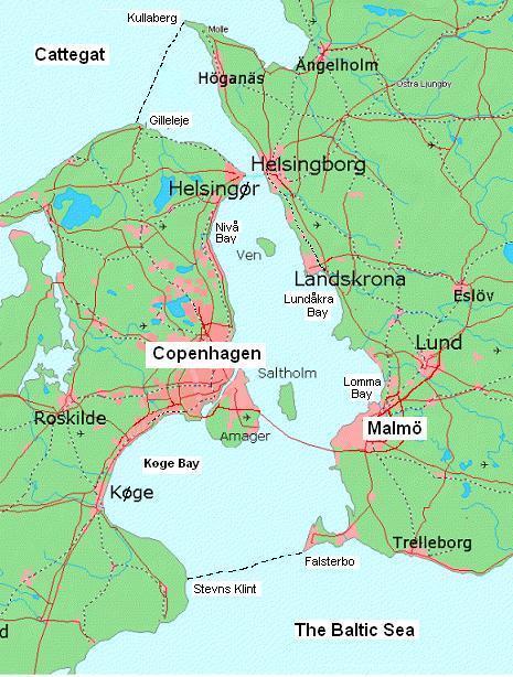 Mapa Estreito de Oresund