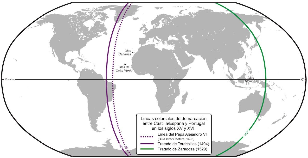 Mapa tratado de tordesilhas e tratado de zaragoza