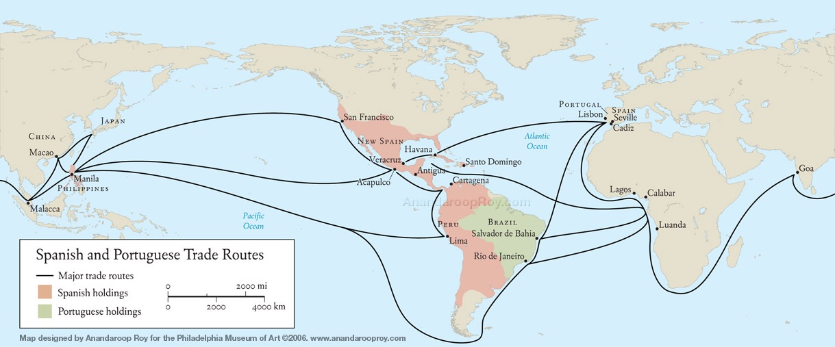 Spanish and Portuguese trade routes