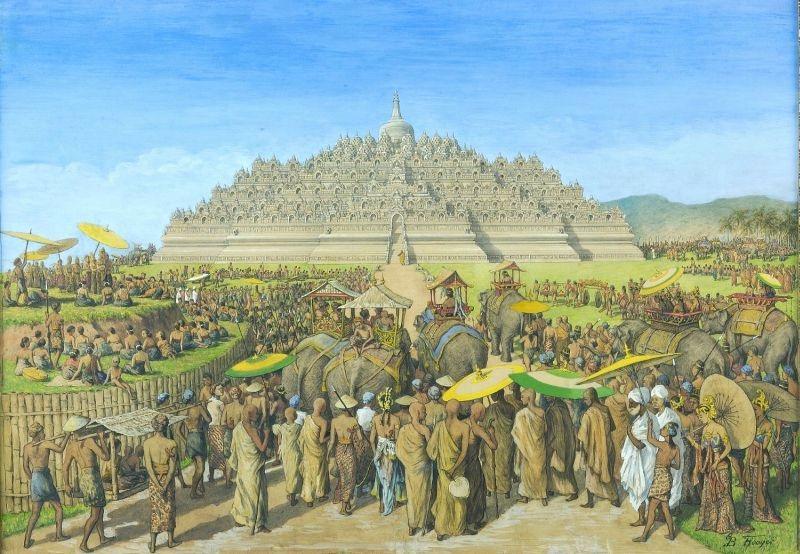 COLLECTIE TROPENMUSEUM Temperaschilderij voorstellende de Borobudur als bedevaartsoord TMnr 75 2