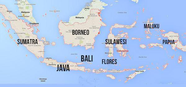Mapa da Indonesia com suas ilhas