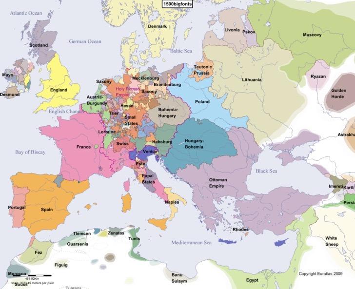 Mapa da Europa em 1500