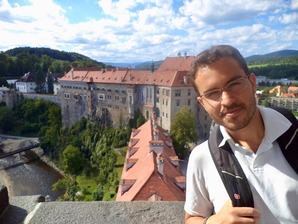 No castelo de Cesky Krumlov