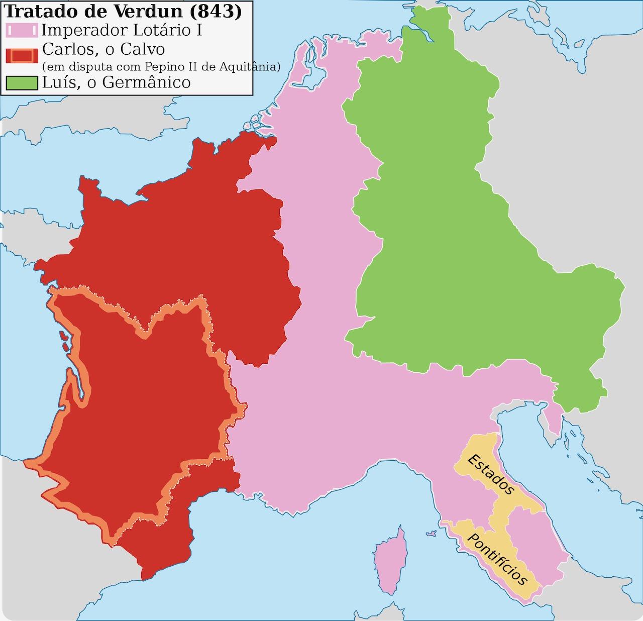 Imperio Carolingio 843 mapa