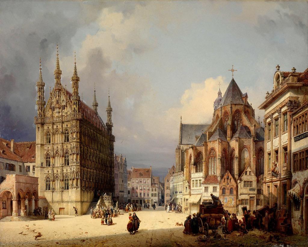 Pintura histórica do centro de Leuven no século XIX