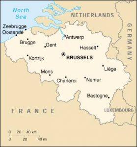 Mapa Antuerpia na Belgica