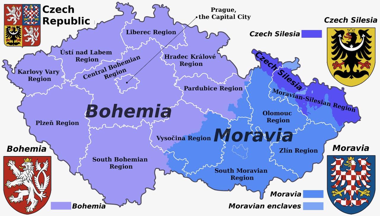 Mapa da Czechia e suas regioes historicas