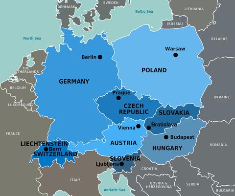 Mapa da Europa Central com Eslovaquia