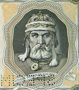 mojmir i on a banknote of the slovak state