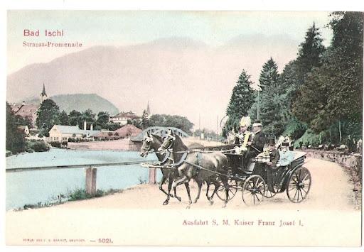 Foto antigo de Bad Ischl com uma carruagem